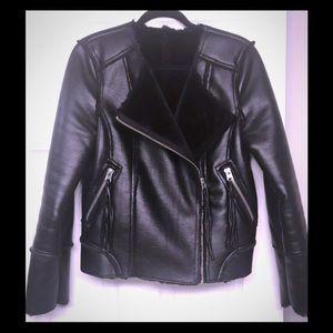 Topshop faux fur leather jacket